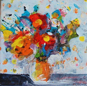 "Borago Calamus 6""x6"" 2015 Acrylic on canvas Janice Rafael"