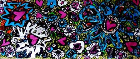 Flower Power Acrylic on canvas 12.25x5.25 2015 ©Janice Rafael