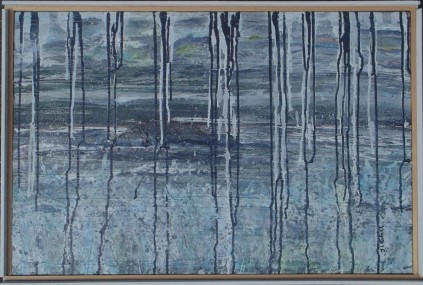Grey Spray 30x20 inches, Acrylic Paper on Canvas Framed, 2015, Janice Rafael