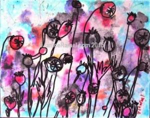 Poppy Power Acrylic on canvas 10x8 inches ©JaniceRafael.com 2015