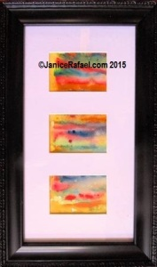 Raincloud Beach 3x8.5 inches - 8.25x13.75 inch framed with watercolour 3 panels ©JaniceRafael.com 2015