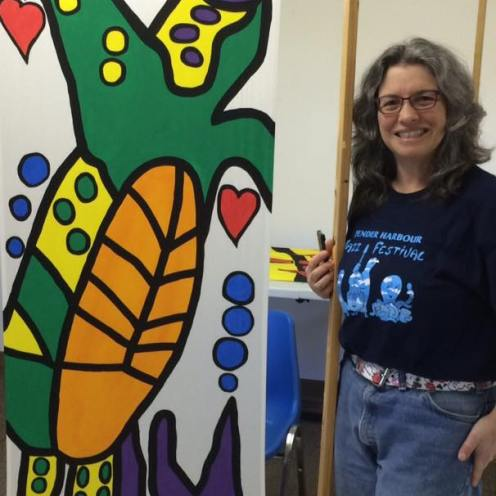 June 2016 Town of Gibsons Banner Project 2016-2017 Janice Rafael Art Turtle