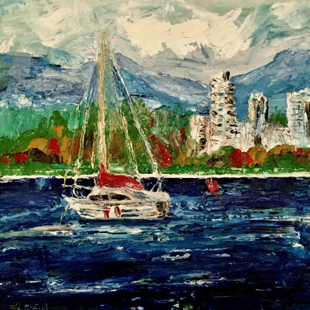 English Bay Sailing 10x10 oil Janice Rafael Art.jpg